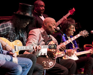 American blues guitarist B.B. King and his band performing live onstage with guests Ronnie Wood, Slash and Mick Hucknall at the Royal Albert Hall, 2011 All reproductions of any of these images must have the following copyright credit: Kevin Nixon/Guitarist Magazine. Copyright Future Publishing Limited, 2011. All Rights reserved.